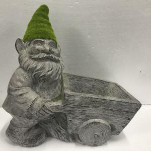 Dwarf Pushing Wheel Barrow
